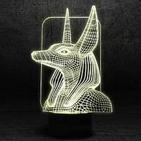 "3D Ночник , Светильник, LED лампа - ""Анубис"""