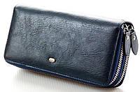 Женский кожаный кошелек клатч ST на две молнии Цвет синий