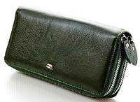 Женский кожаный кошелек клатч ST на две молнии Цвет зеленый