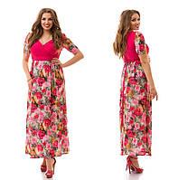 Женское модное платье в пол больших размеров 880 (р. 48-62)