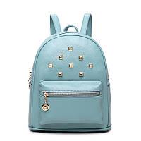 Рюкзак женский стильный с заклепками и карманом JASMIN  (голубой)
