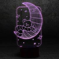 """3D Ночник , Светильник, LED лампа - """"Мишка на луне"""""""
