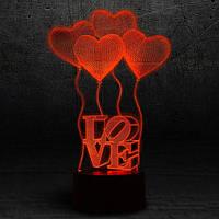 """3D Ночник , Светильник, LED лампа - """"Сердечки LOVE"""""""