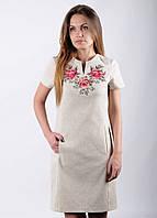 Лляне вишите плаття Троянди - короткий рукав