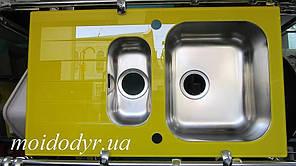 Мойка кухонная стеклянная 860x500x190 желтая (витрина)