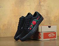 Кеди Vans Old Skool black Roses. Живе фото! (Репліка ААА+)