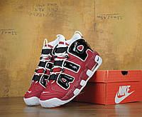 Кроссовки Nike Air More Uptempo Red. Живое фото (Реплика ААА+)