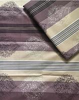 Комплект красивого фиолетового постельного белья в полоску из бязи Gold, 100% хлопок.