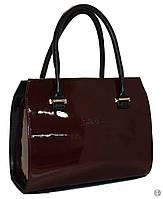 Женская кожаная сумка каркасная лаковая Цвет бордо