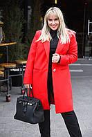 Яркое кашемировое пальто с воротником