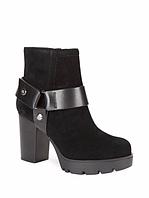 Женские замшевые черные демисезонные ботинки известного бренда Karl Lagerfeld на каблуке, фото 1