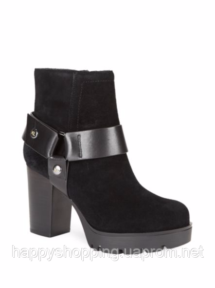 Женские замшевые черные демисезонные ботинки известного бренда Karl Lagerfeld на каблуке