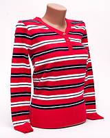 Джемпер женский с мысиком полоска p.44-46 цвет красный S2-2