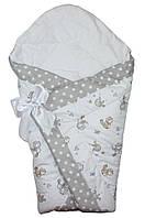 Демисезонный конверт одеяло для новорожденных на выписку весна/осень  90х90см Птички