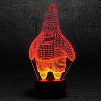 "3D Ночник , Светильник, LED лампа - ""Патрик"""