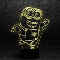 "3D Ночник , Светильник, LED лампа - ""Миньон"""