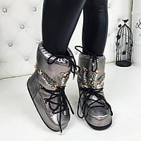 Стильные ботинки, луноходы MOON BOOT цвета никель с декором из камней