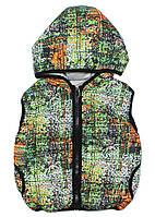 Жилетка с капюшоном на синтепоне для мальчика Пиксель (104, 110, 122 см) зеленый