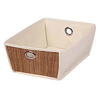 Коробка для хранения вещей бежевая, (36-32)*(25-21)*13 см, ТМ МД
