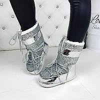 Модные ботинки, луноходы MOON BOOT серебристого цвета с декором из камней