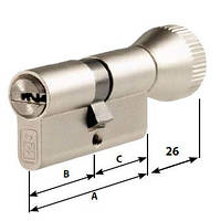 Цилиндр MOTTURA Project DPC1F4146 S3 ключ/тумблер никель, фото 1