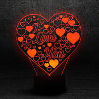 """3D Ночник , Светильник, LED лампа - """"I Love You"""""""