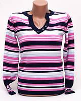 Джемпер женский с мысиком полоска p.44-46 цвет розовый S2-9