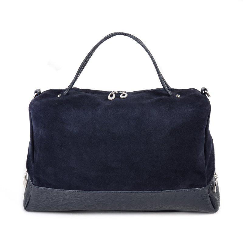 f8305ecbe025 Замшевая синяя сумка М113-39/замш комбинированная большая на плечо -  Интернет магазин сумок