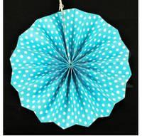 Веер бумажный 30 см голубой горошек