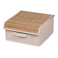 Коробка для хранения вещей с бамбуковой крышкой, бежевая, 30*30*16 см, ТМ МД