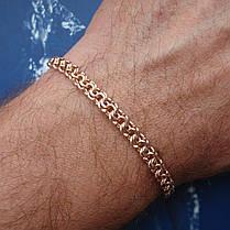 Серебряный позолоченный браслет, 220мм, 12 грамм, плетение  Бисмарк, фото 2