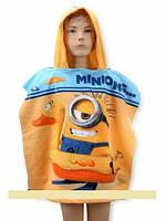Детское пончо с капюшоном полотенце MINIONS FAST DRY, 55*110 СМ. 100% Турция