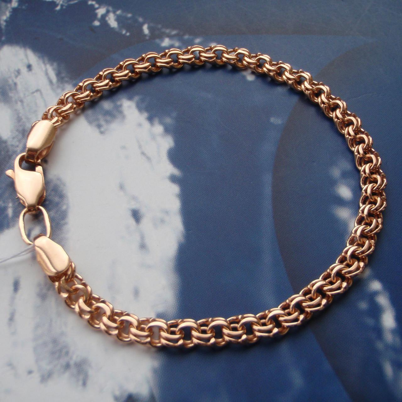 Серебряный позолоченный браслет, 220мм, 12 грамм, плетение  Бисмарк