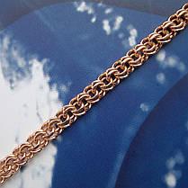 Срібний позолочений браслети, 195мм, 10 грам, плетіння Бісмарк, фото 3