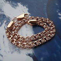 Серебряный позолоченный браслет, 220мм, 12 грамм, плетение  Бисмарк, фото 3