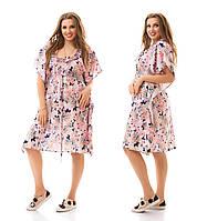 Женское стильное платье MIDI больших размеров с цветочным принтом 887 (р. 48-62)