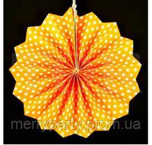 Веер бумажный 20 см оранжевый горошек