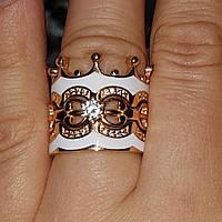 Кольцо Корона Трансформер состоит из 3 трех частей колец вес 12.32 грамм из золота с белой эмалью