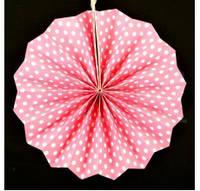 Веер бумажный 20 см нежно-розовый горошек