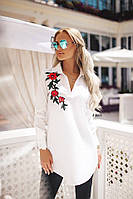 """Хлопковая женская блуза-туника """"Monton"""" с вышивкой и длинным рукавом (3 цвета)"""
