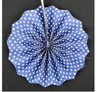 Веер бумажный 20 см синий горошек