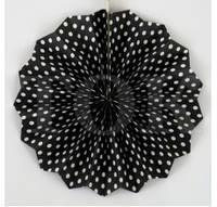Веер бумажный 20 см черный горошек