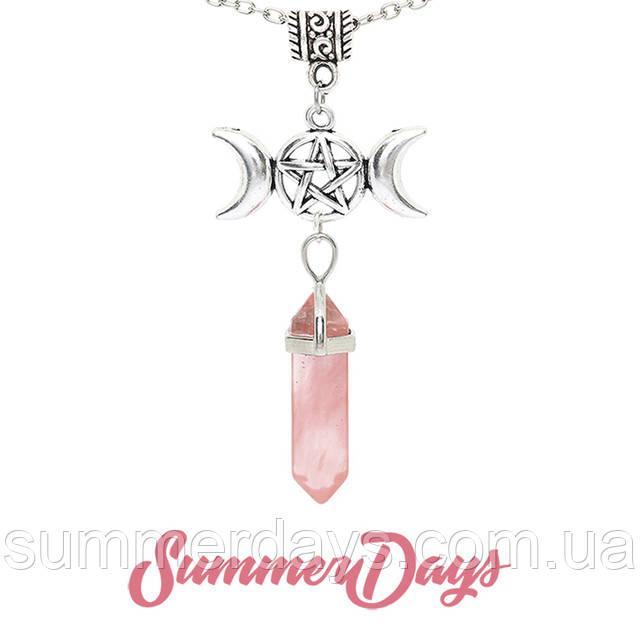 Кулон розовый халцедон с богиней