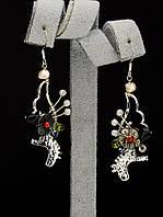 044969 Серьги 'Hand Made' Самоцветы  украшение с натуральным камнем