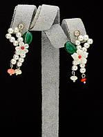 044950 Серьги 'Hand Made' Агат  украшение с натуральным камнем