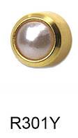 Серьги для прокола мочки уха R301Y Жемчуг с золотым покрытием