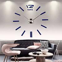 Часы 3D, настенные, большие, Зеркально-синего цвета  \ Акриловые зеркальные декоративные наклейки