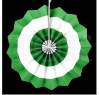 40 см Веер бумажный зеленый круги