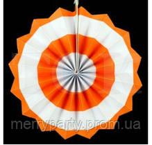 Веер бумажный 20 см оранжевый круги