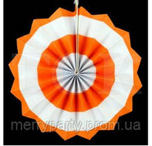 Веер бумажный 30 см оранжевый круги